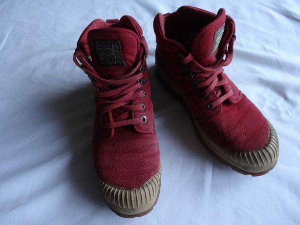 Buty oryginalne Aigle czerwone trapery wygodne rozmiar 38 wkł 23,8cm