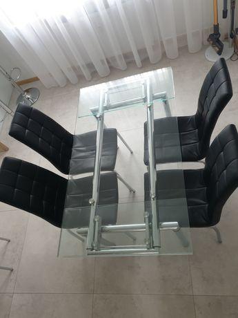 Stół szklany rozkładany 140-200 cm + krzesła w gratisie