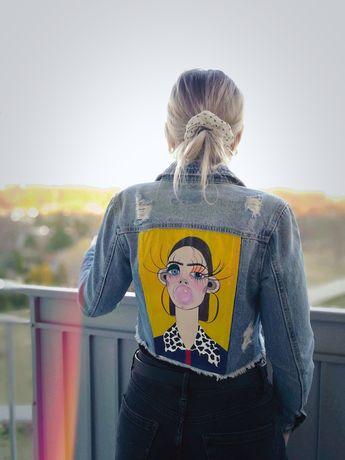 Ręcznie malowana jeansowa kurtka handmade jacket Bershka XS