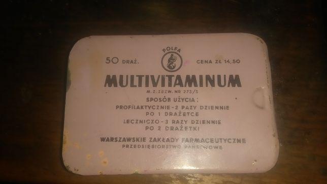 Metalowe pudełko kolekcjonerskie po Multivitaminie ( Polfa) z lat 60 t