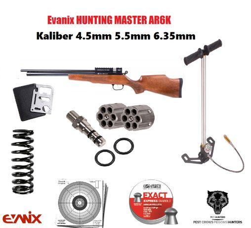 174 12 Evanix Hunting Master AR6K + POMPKA cal 4.5 mm 5,5mm oraz 6,35m