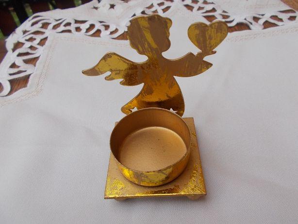 Anioł aniołek metalowy świecznik złoty święta WYSYŁKA