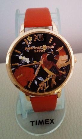 Nowy damski zegarek złota koperta 35 mm duża tarcza czerwony pasek