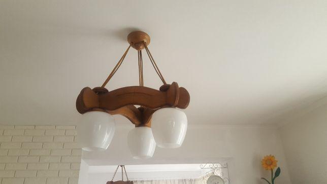 Lampa żyrandol drewniany