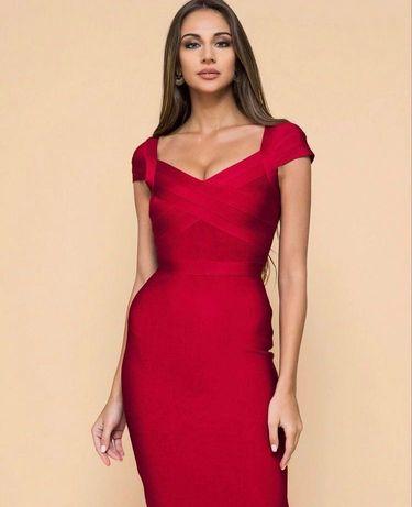 Бандажное новое красное платье утягивающее