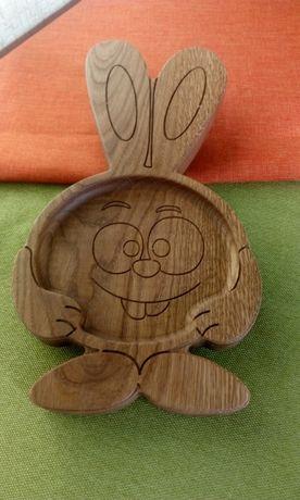 "Детская тарелка из дерева ""Крош"". Детская посуда. Дитячий посуд. Посуд"