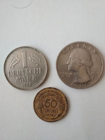 Монети Deutsche mark,Liberty,Centimes