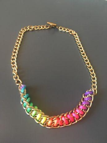 Kolorowy łańcuch naszyjnik złoty