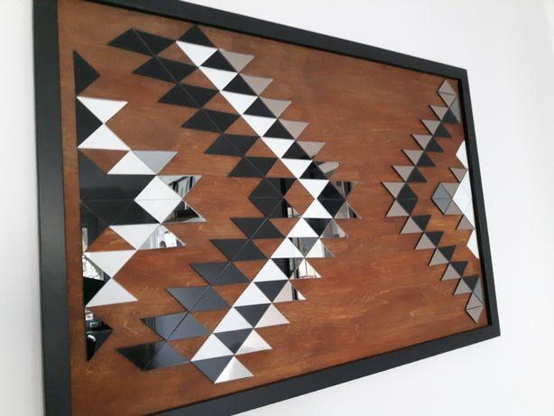 Obraz rękodzieło Boho Aztec aztecki wzór drewno szkło lustro