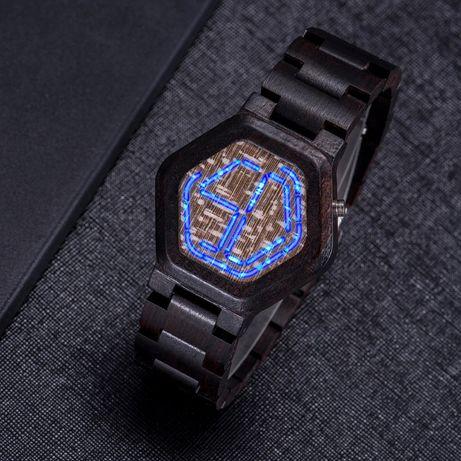 Czarny BOBO BIRD zegarek i drewniane pudełko