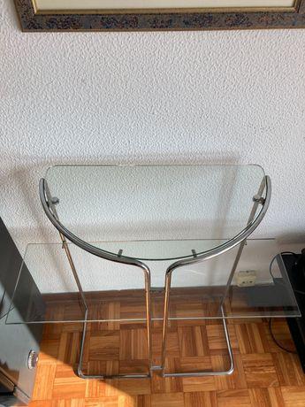 Consola em vidro e metal