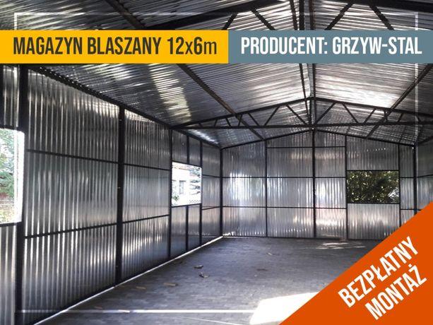 Garaż Blaszany Ocynkowany 12x6 - Magazn , Hala , Schowek - GrzywStal