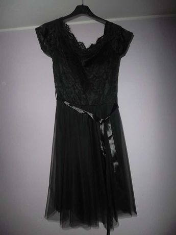 NOWA sukienka koronkowo-tiulowa