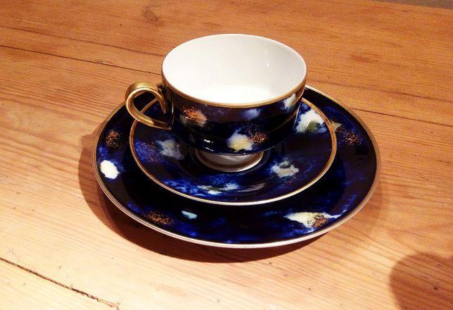 Zestaw filiżanka i dwa talerzyki porcelana WEIMAR KOBALT