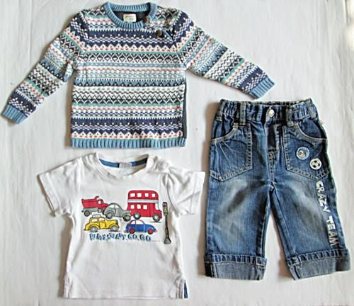 Spodnie jeans spodenki sweter bluzka roz 62 - 74 cm ZESTAW 3 szt