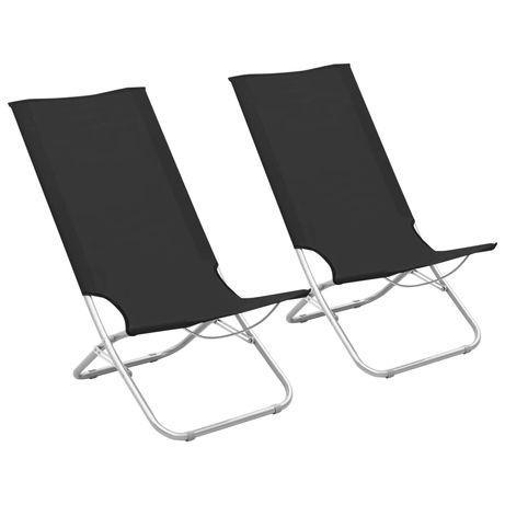 vidaXL Cadeiras de praia dobráveis 2 pcs tecido preto 310375
