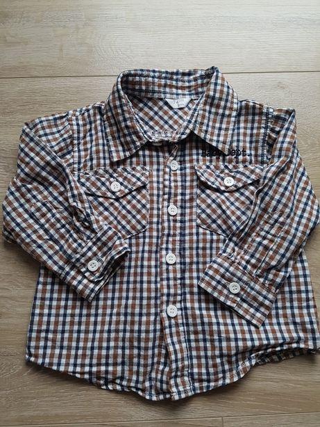 Koszula na długi rękaw w kratkę r. 74