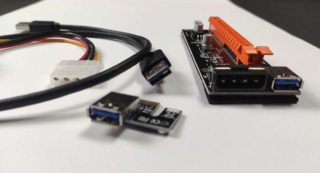 Adaptador PCI-E 16X RISER para mineração (mining) c/ molex