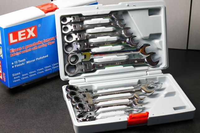 Набор рожково-накидных ключей LEX с трещоткой на кардане 12 шт 8-19мт
