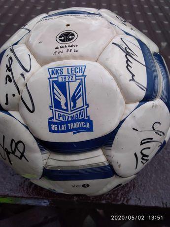 Lech Poznań autografy sezon 2007 piłka z podpisami