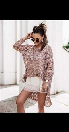 Śmietankowy sweterek ażurowy narzutka rozmiar uni