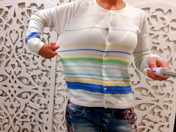 Кофта на пуговицах белая в полоску яркая свитер женский M/L m&s cos
