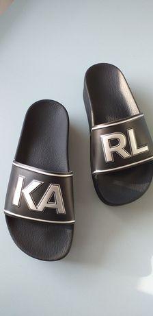 Klapki platforma Karl Lagerfeld IKONIC  czarne srebrny napis