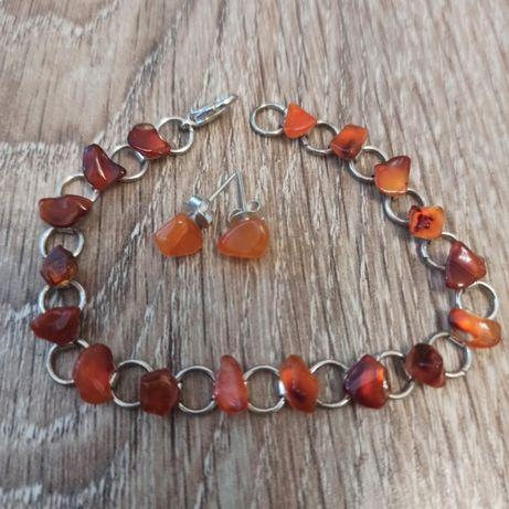 Komplet biżuterii z pomarańczowego kwarcu