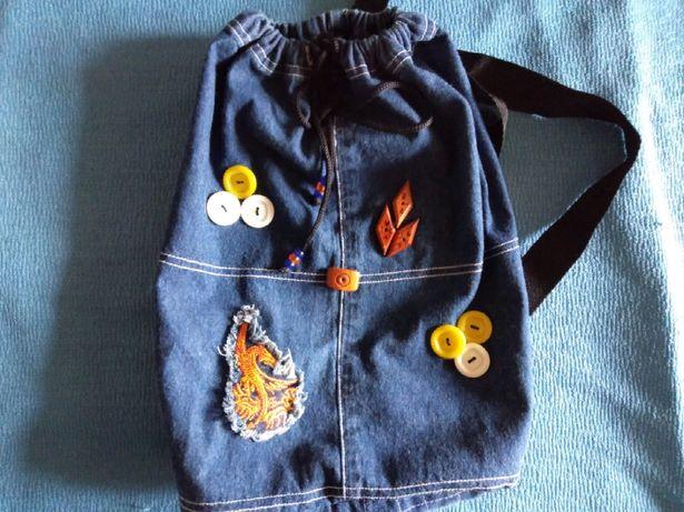 Рюкзак джинсовый, новый ручная работа