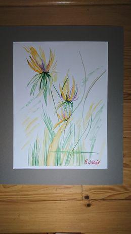 Obraz akwarela 30x40 sygn.Górniak abstrakcja, rośliny, kwiaty, papier