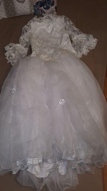 sukienka suknia komunijna + dodatkowe akcesoria: rękawiczki,torebka