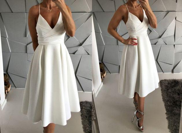 Sukienka XL L 42 biała ecru rozkloszowana midi ślub wesele poprawiny