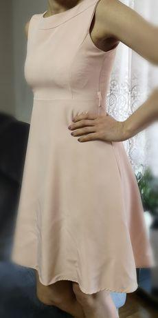 Elegancka sukienka blady róż, bdb stan, rozmiar 38, M