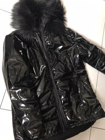Kurtka parka oversize lakierka lateks xs miss jacket s