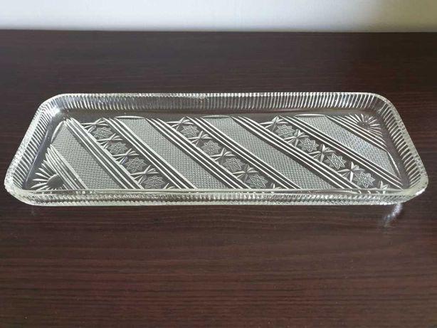 Kolekcjonerski śliczny półmisek kryształowy prostokątny Vintage PRL