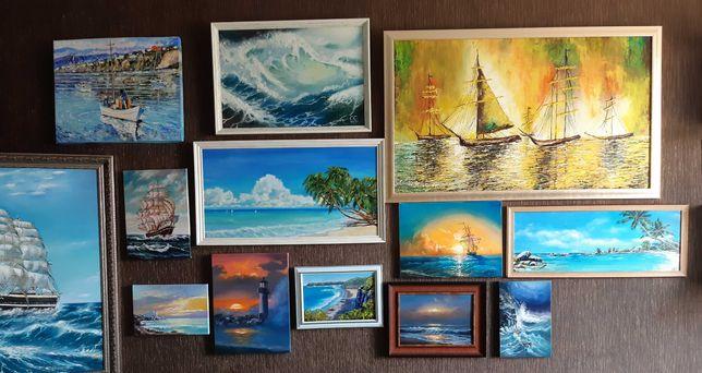 Морской пейзаж, море, маяк, корабли, корабль, рассвет, закат, природа