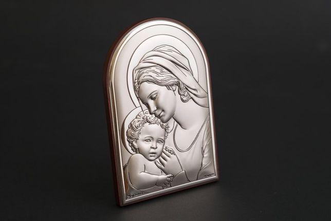 Obrazek Matki Boskiej z dzieciątkiem (posrebrzany), 6x4 cm