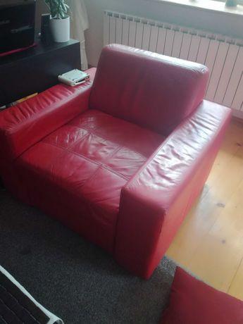 kanapa skórzana z fotelem