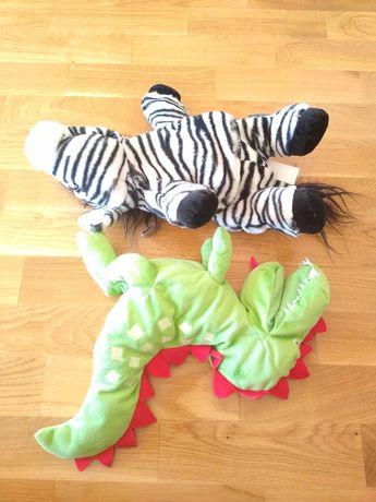 Dwie pacynki zebra i krokodyl ikea