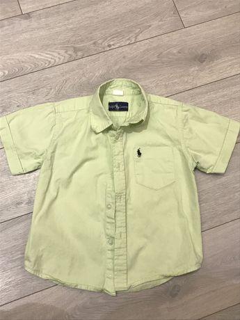 Рубашка на мальчика, р.104-116, салатовая, хорошее состояние