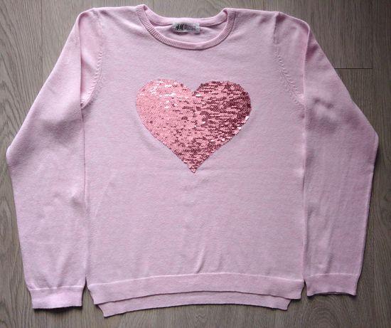 Różowy sweter dla dziewczynki- H&M - rozmiar: 134/140