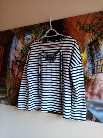 WOMEN - NOWA Bluzka w paski czarno - białe r. L/XL