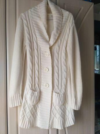 Пальто вязаное белое кардиган select