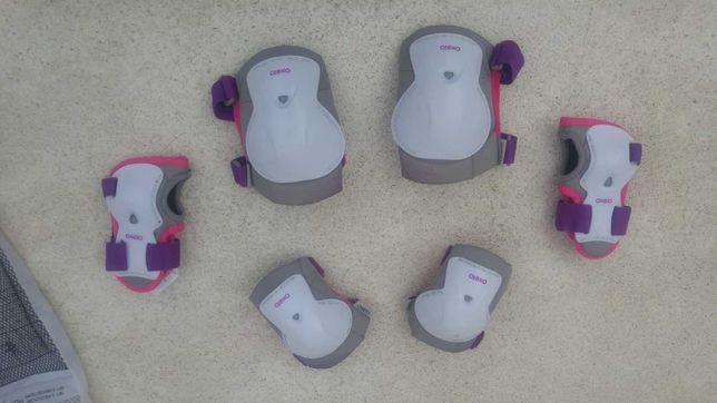 Proteções para patins criança play branco rosa (conjunto) tamanho XS
