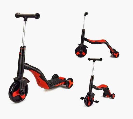 Самокат-велобег Best Scooter 3в1, свет, 8 мелодий, колёса PU (Красный)