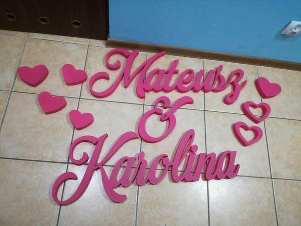 Litery napis imiona ślub wesele Karolina Mateusz