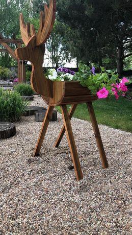 Jelonek doniczka drewniana jeleń ozdoba ogrodowa