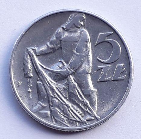 5 zł 1974 Rybak z połyskiem piękna moneta PRL  Rybak 1974 moneta nr 02