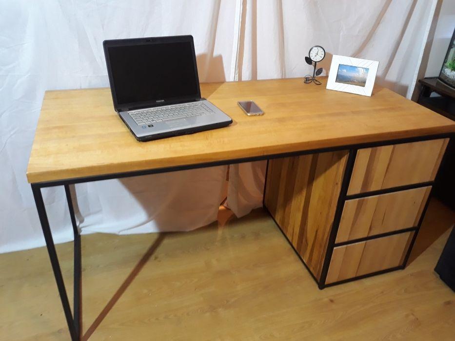 Biurko loft z szufladami 160x70. Blat lite drewno olcha grubości 4 cm. Wierzchowisko - image 1