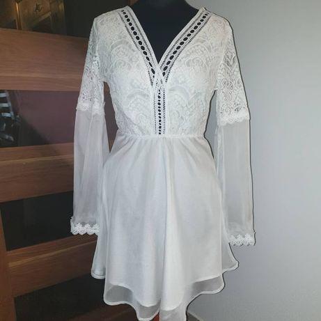 Piękną Biała letnią sukienka Nowa